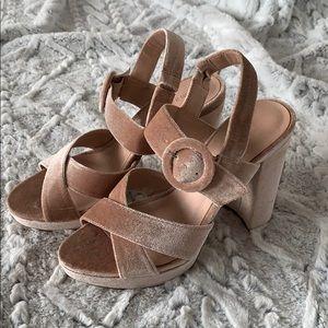 Madden Girl Powder Pink Velvet Heels